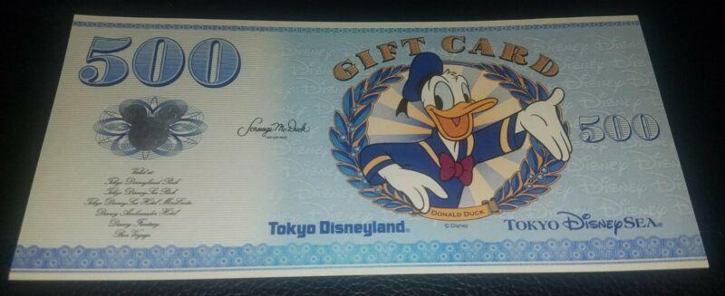 Donald Duck Disney Dollars Gift Card Tokyo Disneyland 500 Yen