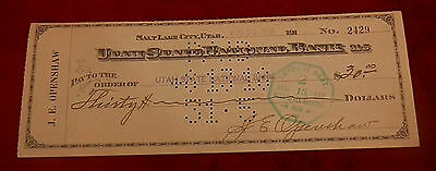 1918 Salt Lake City Utah State National Bank  Check No  2429