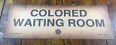 BLACK AMERICANA COLORED WAITING ROOM SEGREGATION RR RAILROAD PAPER SIGN