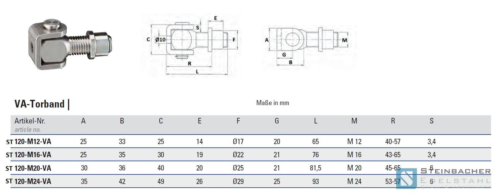 edelstahl torband torangel va scharnier tor tür m12 m16 m20 m24