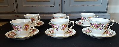 Pretty Vintage Colclough Bone China Tea Cups and Suacers x 6 - Wayside