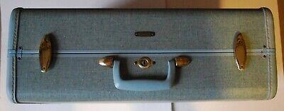 1950s Vintage Samsonite Luggage Blue Tweed Robin's Egg Sparkle Suitcase 21x7x18