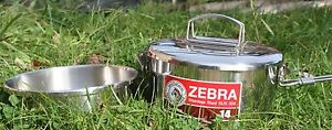 Zebra Head Stainless Steel Camping Pot/Saucepan14cm with Internal Dish