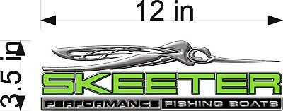 """SKEETER BOAT LOGO 3D EFFECT / SINGLE / 12"""" GREEN Vinyl Graphic Decal Stickers"""