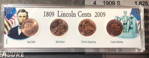 4X 2009 Lincoln Bicentennial Cent complete 4 coin Set  BU RED GEM.