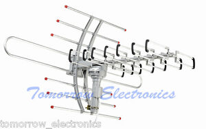 HDTV Outdoor Amplified Antenna HD TV 38dB Rotor Remote 360° UHF/VHF/FM 150 Miles