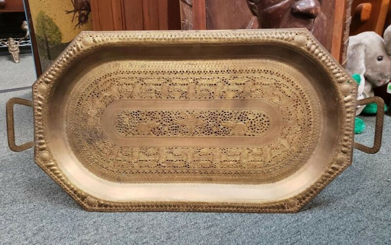 Early 20th Century Indo-Persian Mamluk Revival Gilded Brass Reticulated Tray