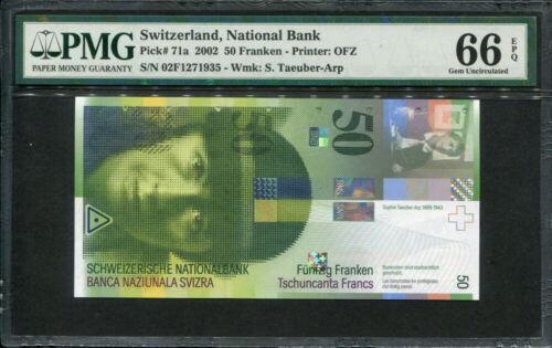 Switzerland 2002, 50 Franken, P71a, PMG 66 EPQ GEM UNC