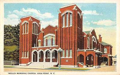 High Point North Carolina Wesley Memorial Church Antique Postcard K18242