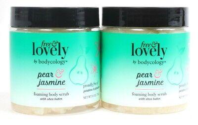 2ct Bodycology 11 Oz Free & Lovely Pear & Jasmine Shea Butter Foaming Body Scrub 2 Oz Body Butter Scrub