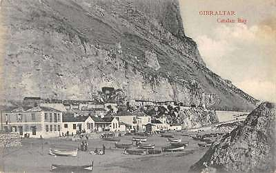 Catalan Bay Gibraltar birds eye view town boats people antique pc Y15119