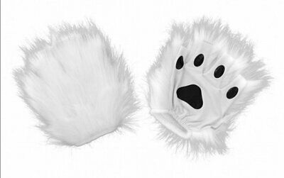 White Fingerless Paws Costume Gloves Furry Animal Cat Dog Polar Bear Bunny Snow
