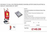 McAnax 10 Gallon Pressurised Sandblaster Sand Blasting & Sealey 25kg bag of grit