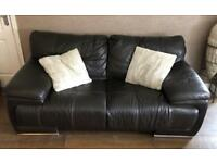 2 Real leather brown sofa . settee