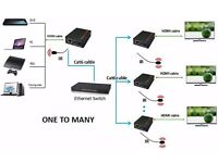 HDMI Extender Over Ethernet LAN Switch CAT5e Cat 6 With TCP/IP Full HD 1080P With IR Loop Repeater