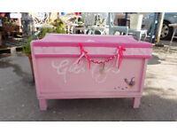 Pretty painted pink girls toy / storage box