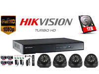 Hikvision DVR Full HD 1080p CCTV Security Camera Kit, 2 or 4x 1080p Cameras, Hard Drive, Cables, NEW