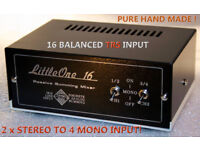 Passive Discrete Summing Mixer LittleOne 16X2 TRS in/TRS out balanced STEREO TO MONO!
