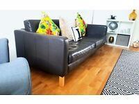 Ikea Karlstad Black Leather Sofa