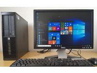 "Complete HP i3-3220 PC Setup,20"" dell hd screen,Wifi Ready,4GB/500GB,,Win10 64Bit desktop/computer"