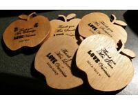 Custom laser engraved wooden apples for teachers (end of school year gift)