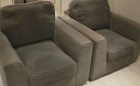 Grey Fabric Armchairs x2
