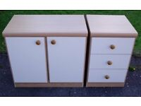 3 DRAWER CHEST of DRAWERS with MATCHING CUPBOARD c/w SHELF - CREAM FRONTS