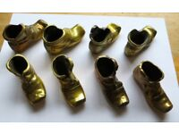 8 Brass Boots. Approx. 75mm L, 40mm H & 30mm W