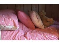 Girl's duvet with cover & pillow, cushions & rug each £5 bargain each £5 new