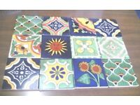12 NEW HANDMADE MEXICAN CERAMIC WALL TILES - PEACOCK MIX - 10.5CM X 10.5CM (Approx)