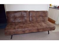 Texas Faux Brown Leather Sofabed