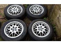 "Genuine BBS VR6 15"" Alloy Wheels & Great Tyres - Golf, Leon, Fabia, Bora, Octavia, Polo, Corrado etc"