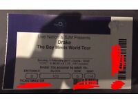 2 X Drake Tickets 1st 2nd 5th 14th 15th Standing & Seated London O2 Arena