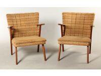 Vintage retro teak wooden Danish mid century 60s 70s lounge chair armchair pair x 2