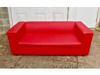 Clarke Red Faux Leather Sofa Bed