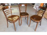 Set of 3 matching kitchen (or dining) chairs - dark wood - £15.00