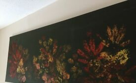 Hand painted leaf print artwork