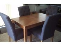 Union British flag Square Oak dining table and 4 Hatfield slate colour fabric chairs
