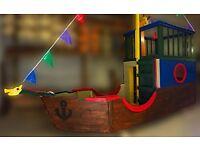 Free New Wooden Ship Sandbox Kids Children Garden Playground Boat Sandpit
