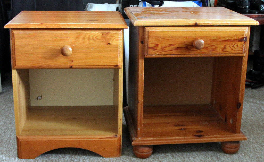 Two (none identical but similar) bedside cabinets - well used with marks but still servicable