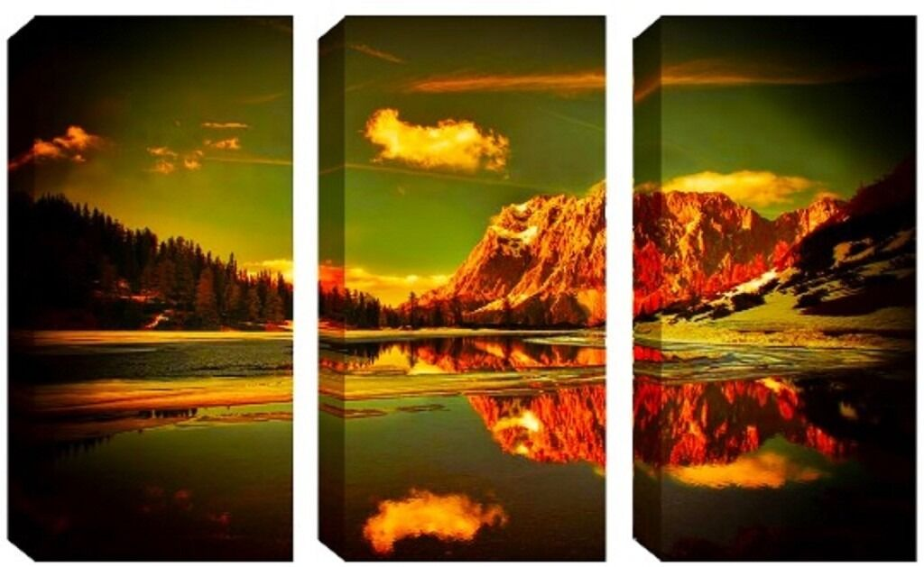 3 Panel Canvas Glistering Brown MountainsReduced from70.00 to clear BRAND NEWin Romford, LondonGumtree - 3 Panel Canvas Glistering Brown Mountains Reduced from £70.00 to clear Each panel is Height 80 cm (31.5 inches) Length 40 cm (15.75 inches) Width 2.5 cm Canvas 250 gsm Water Resistant Fade Restraint Ultra Violent Protected Glossy Finish Ready to...