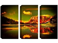 3 Panel Canvas -Glistering Brown Mountains - Reduced from £70.00 to clear BRAND NEW