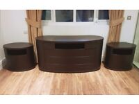Oval Chest of Drawers & 2 Matching Bed Side Tables