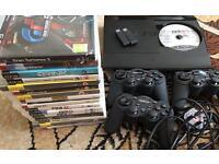 PS3 slim 12GB, 17 games & 3 pads