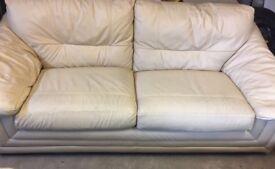 Cream leather 3 seater sofas x2