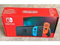 NINTENDO SWITCH CONSOLE NEON WITH IMPROVED BATTERY, 2 JOY CONTROLLERS, BRAND NEW IN SEALED BOX