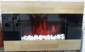 Mounted heater Wood/smoked glass/FS18631,3 months warranty,Delivery available within Devon/Cornwall