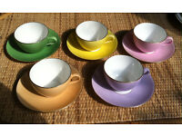Retro set of colourful 5 tea cups and saucers by Shelley - LateFoley. ca 1950's ?