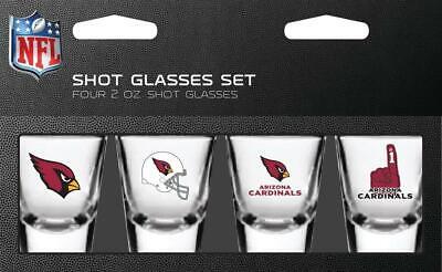 Arizona Cardinals 2oz Shot Glass - 4 Pack [NEW] NFL Bar Drink Party Tailgate Arizona Cardinals Party Pack