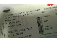 STATUS QUO ALBERT HALL TOP PRICE FRONT ROW BOX SEATS £70 AQUOSTIC LIVE